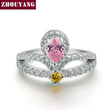 Король Корона CZ Обручальные Кольца Посеребренная Мода Розовый AAA + Кристалл Обручальное Ювелирные Изделия Для Женщин Оптовая ZYR466(China (Mainland))