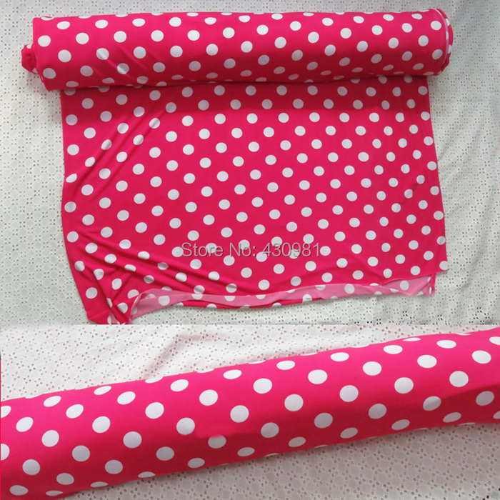 meter fresh pink knitted fabric for warp skirt soft lycra material for sewing fashion knit polyester spandex fabric polka dots(China (Mainland))