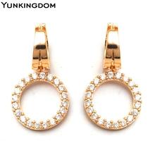Yunkingdom Elegant Round Fashion luxury Earrings Full Shiny White Cubic Zirconia Crystal Drop earrings for women jewelry M0090