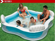 Inflatable rubber swimming pool for children and  large family with pump(China (Mainland))