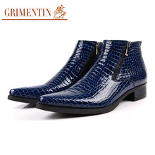 GRIMENTIN crocodile men ankle boots genuine leather comfortable top grade pointed toe mens dress shoes for business size 11 b231