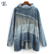 New Arrival Print Casual Pullovers Women's Brand Clothing Color Block Blue Long Sleeve High Neck Fringe Dip Hem Loose Sweatshirt(China (Mainland))