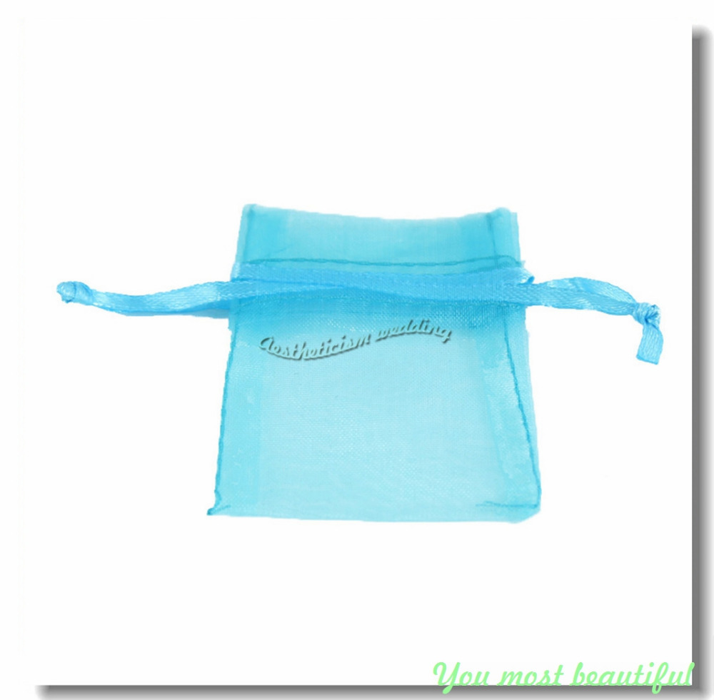 "2015 New 50Pcs/lot Aqua Blue 2"" x 2.7"" 5cm x 7cm Strong Sheer Drawstring Organza Bag Pouch Wedding Favor Jewelry Gift Candy Bags(China (Mainland))"
