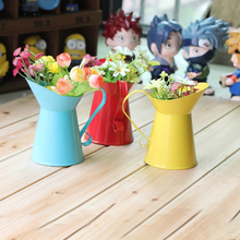 Popular Creative Groceries Home Decoration Hand-painted Flower Garden Metal Shower Mini Camera Props Vase(China (Mainland))