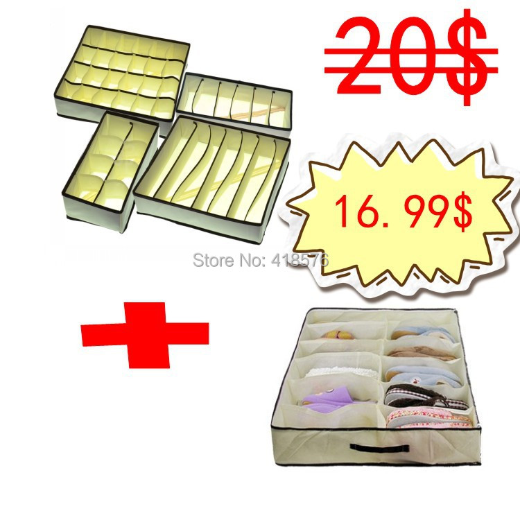 4PCS Foldable Storage Boxes Underwear Drawer + 1 PCS Home Organizer Folding Under bed 12 Cell Storage Bag For Shoes(China (Mainland))