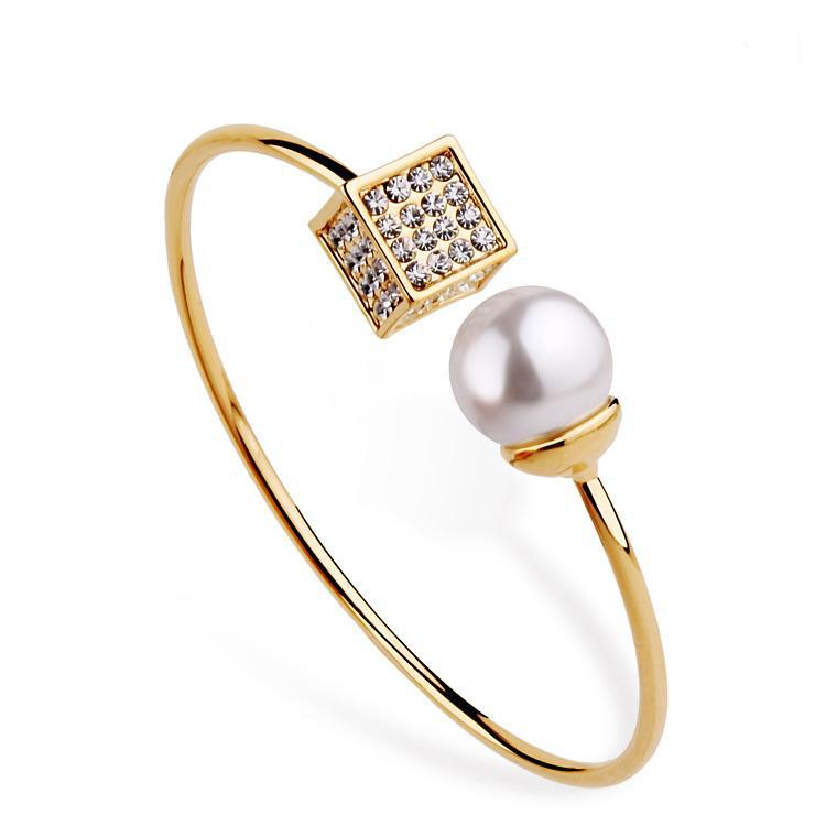 New Brand Open Pearl Bangles 18K Gold Plated Special Fashion Crystal Bracelet & Bangles Jewelry For Party Women(China (Mainland))