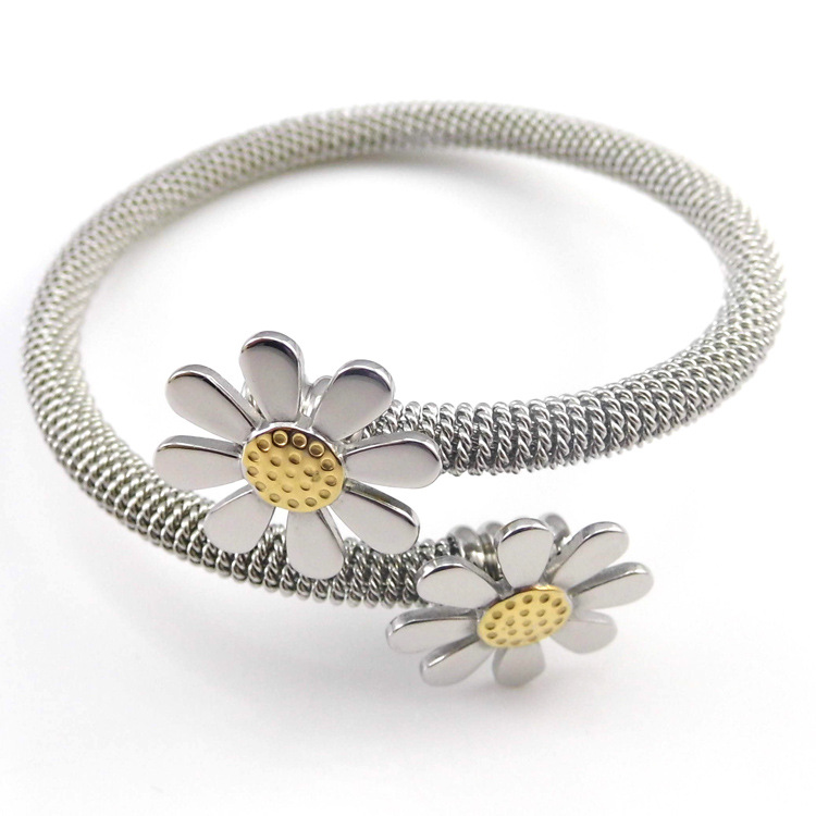 T&L Silver Bangle 18K Gold Plated Mesh Sunflower Daisy Bangles Fashion Stainless Steel Jewelry Bracelets & Bangles For Wmen(China (Mainland))