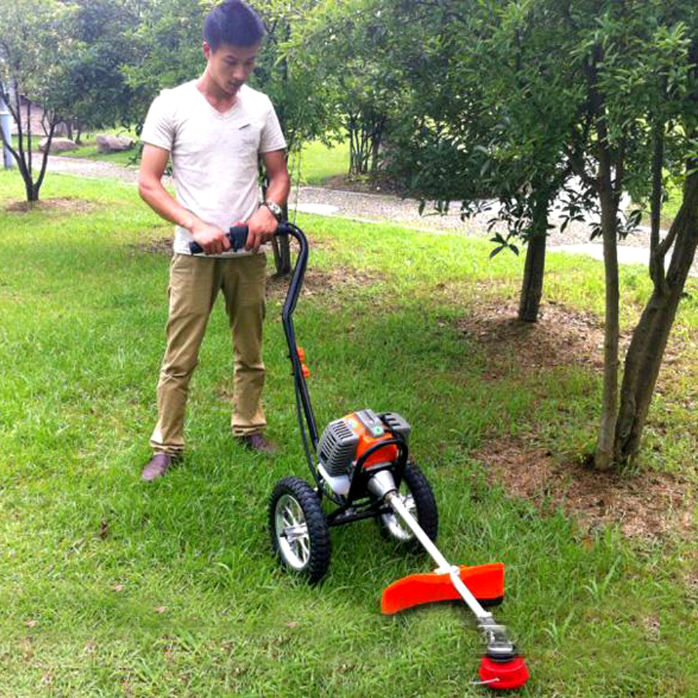 New Hand Push Gasoline Lawn Mower Air-cooled Two-Stroke Engine Power: 1.25kw / 7000 / min Displacement: 43cc 13KG(China (Mainland))