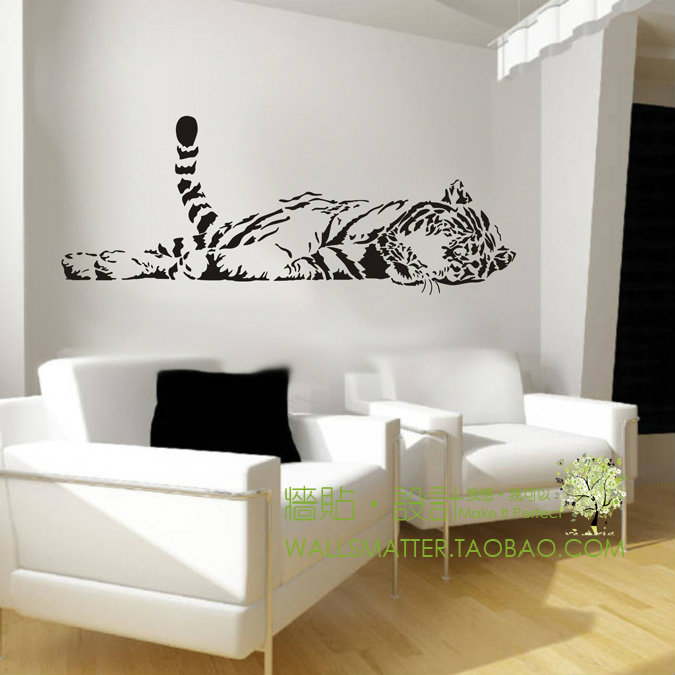 Animal Tiger Relaxing Wall Sticker Decoration Fashion Cute Bedroom Living Waterproof Sofa Glass