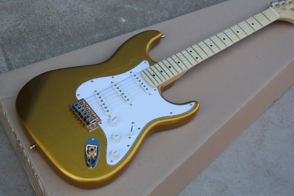 Vintage gold color Yngwie Malmsteen golden parts Scalloped maple fretboard Big Head ST 6 string electric guitar guitarra(China (Mainland))