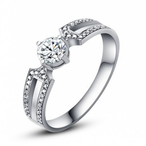 Brand Designer CZ Diamond White Gold Plated Double Zircon Crystal Rings Fashion Jewelry Girlfriend Gift 925 sterling silver - The Prince and Princess store