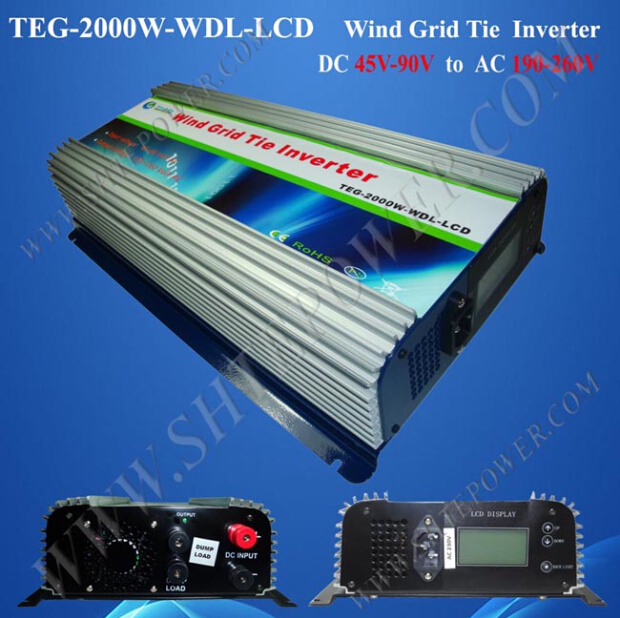 DC to AC 220V 230V 240V Wind Turbine Grid Tie Inverter 2000W with LCD and Dump Load(China (Mainland))
