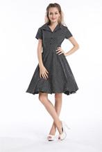 free shipping 1092 BLACK Polka dot Swing 50's Housewife pinup Dress Vintage Rockabilly(China (Mainland))