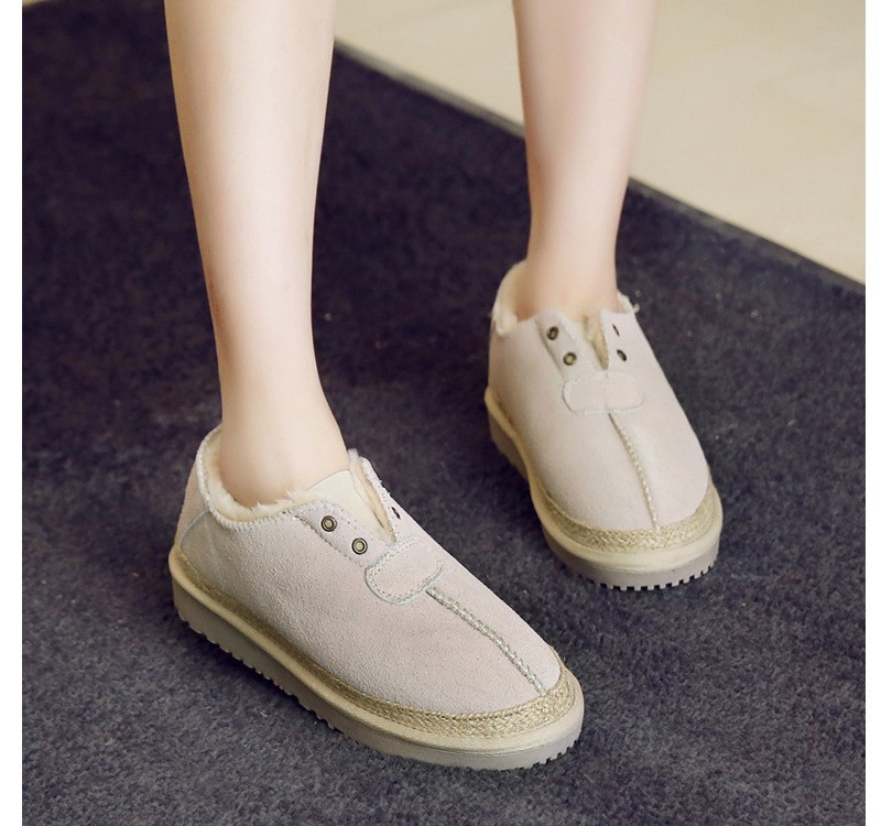 ซื้อ ที่มีคุณภาพสูงแท้แยกหนังผู้หญิงฤดูหนาวหิมะบูตแฟชั่นใบบนอุ่นให้รองเท้าnubuckรองเท้าGN16