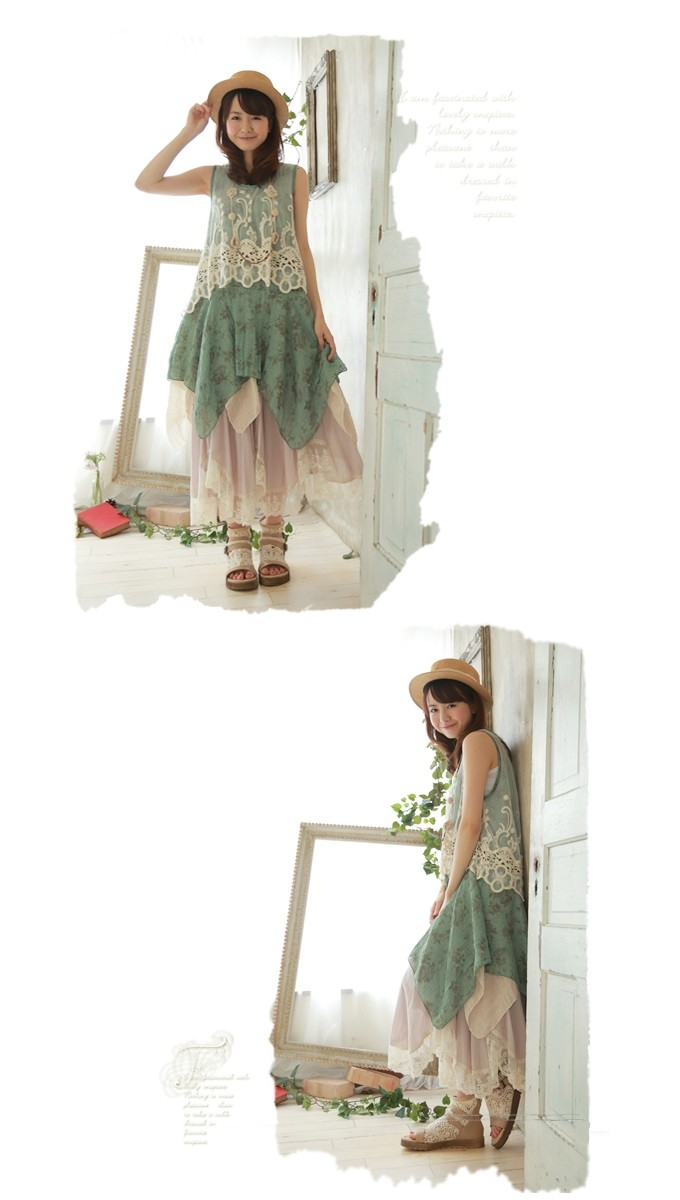 hippie boho mori girl lolita cute Japanese style laces patchwork robe femme floral print rockabilly women summer tank dress
