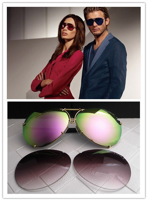 HOT!!Free Gold frame new P8478 A Sunglasses reflecting lens, buy a send a pair of lenses. Glasses brand men's Sunglasses(China (Mainland))