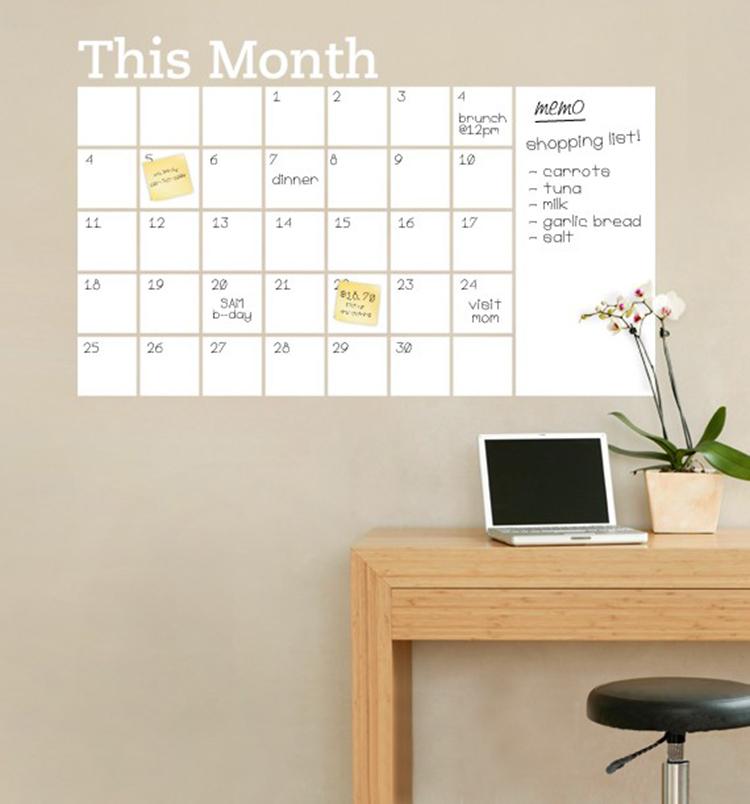 Diy Calendar Background : New vinyl diy monthly chalkboard dry erase wall