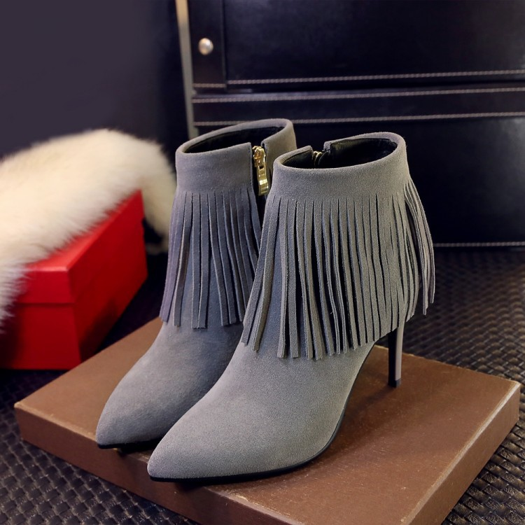 2016 New Arrive FASHION LADY shoes woman winter boots ankle  boots tassel bootssnow warm sexy black gray cow leather<br><br>Aliexpress