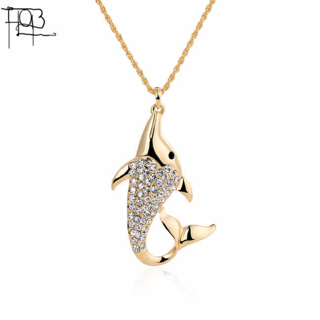 18K Gold Plated Rhinestones Dolphin Pendant Necklace Long Fashion Necklaces for Women 2015(China (Mainland))