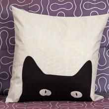 Cute Hide And Seek Cat Printed Linen Throw Pillow Cushion Cover For Kids