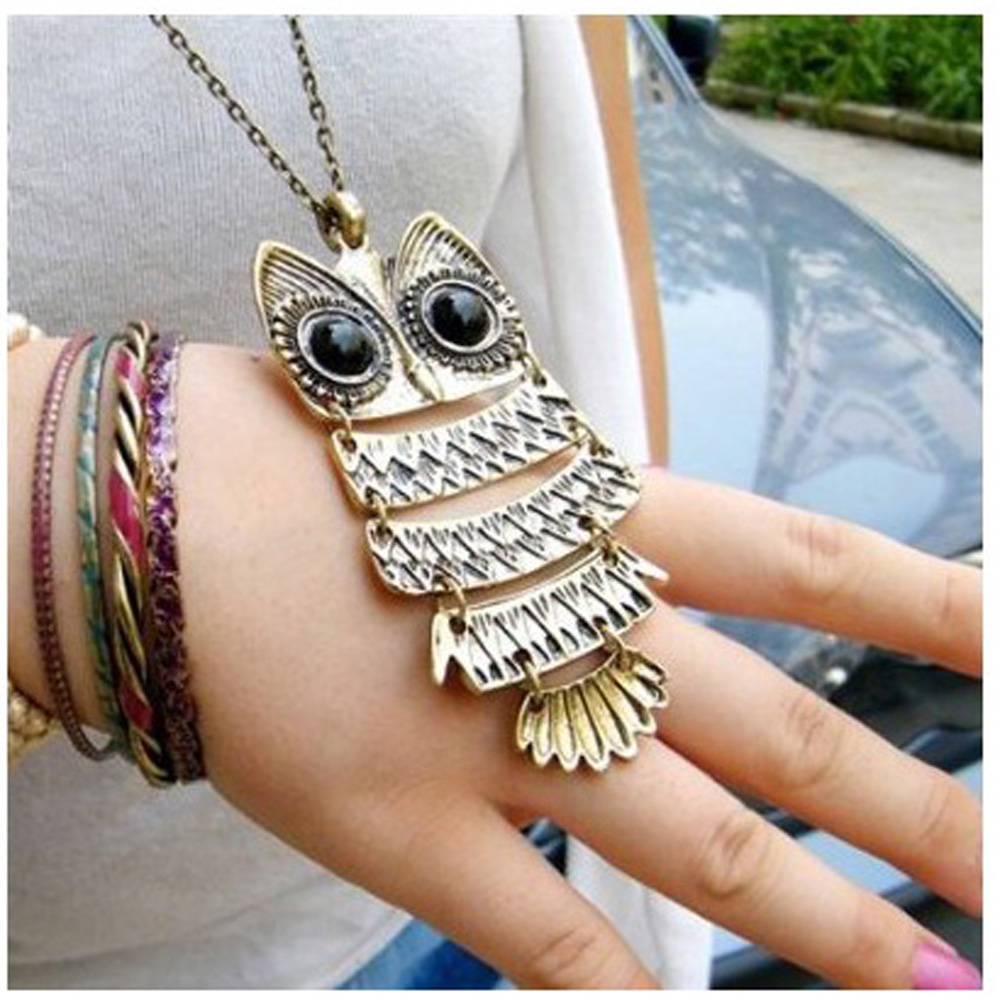 USA Delivery 2014 Charm Vintage Antique Bronze Owl Pendant Sweater Necklace Santa Gift(China (Mainland))