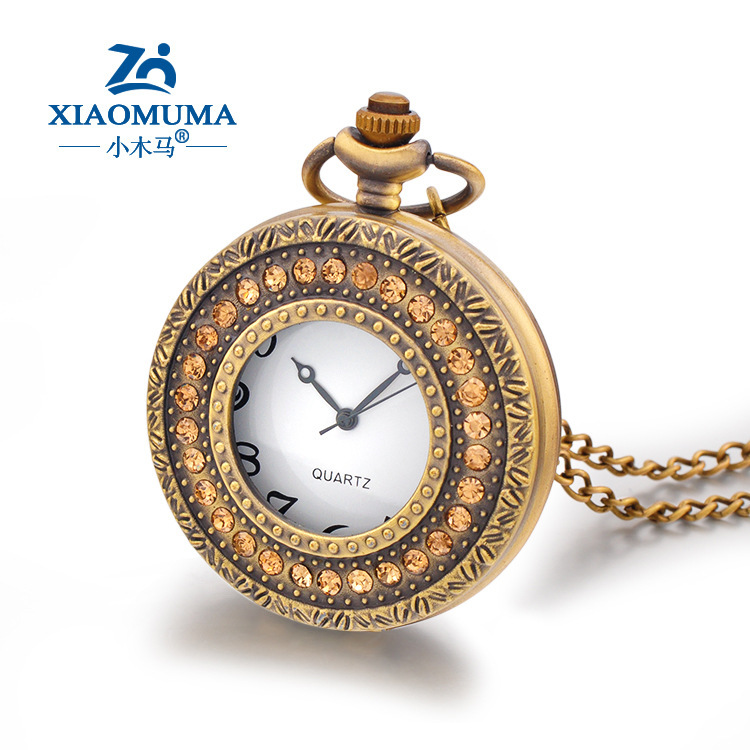AliExpress selling nostalgic pocket watch traditional table perfect for hanging clothes handmade diamond luxury watches(China (Mainland))