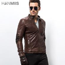 free shipping cross genuine leather male clothing rivet single motorcycle jacket sheepskin leather coat(China (Mainland))