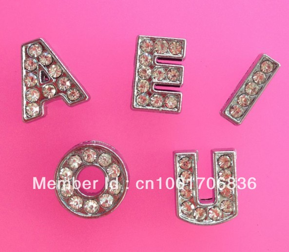 50pcs 10mm A E I O U zinc alloy and full rhinestone letters Wholesale Slide letters Fit Wristbands Belts or Pet Collar(China (Mainland))