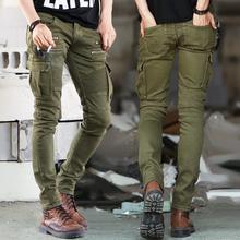 JJ Green Black Denim Biker jeans Mens Skinny 2015 Runway Distressed slim elastic jeans hiphop Washed