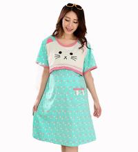 Plus size kawaii kitty pink dots sciolto le donne incinte vestiti di maternità per l'allattamento al seno vestito homecoming che allattano abiti  (China (Mainland))