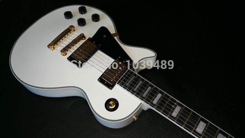 Custom shop White left hand guitar ebony fingerboard keyboard bindings(China (Mainland))