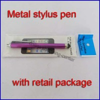 Capacitive stylus touch pen with retail package metal stylus pen clip style portable for mobile phone for tablet PC 1500pcs/lot