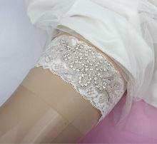 Original Flower Rhinestones Applique White Lace Bridal Garter Made of Lace Trim Handmade A grade Quality Free Shipping