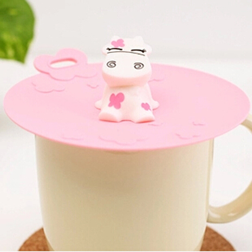 1pcs Funny Cartoon Dairy Cow Style Silicone Glass Bowl Cup Mug Lid Cover CMA00168(China (Mainland))