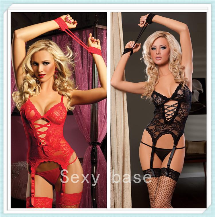 Sexy Lingerie Women Black/Red/White Lace Dress/G string/Handcuff/Garter Belt/Stockings Set(China (Mainland))