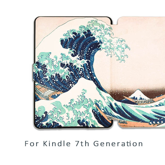 Kindle 7th Generation Case Van gogh Design Skin Lighted Slim Leather Cover 7th generation not have