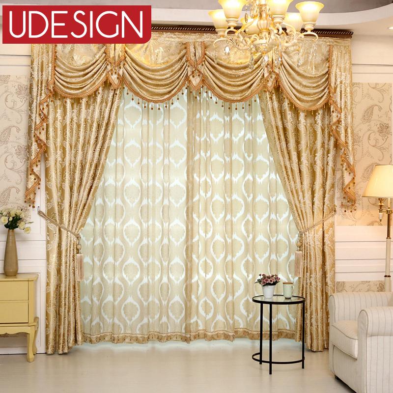 1 pc europ en gloden luxe royal rideaux pour chambre fen tre rideaux pour salon l gant stores. Black Bedroom Furniture Sets. Home Design Ideas