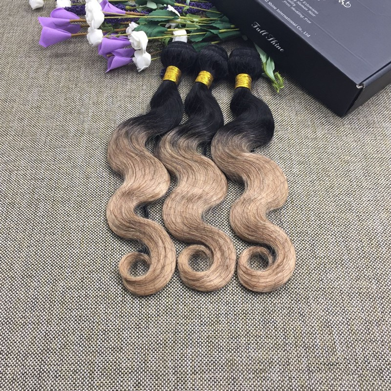 Full Shine 3 Bundles Brazilian Body Wave 100 Human Hair Sew in Extensions Ombre Color  1B27 Weave Hair Mix Length 50g Per Pac