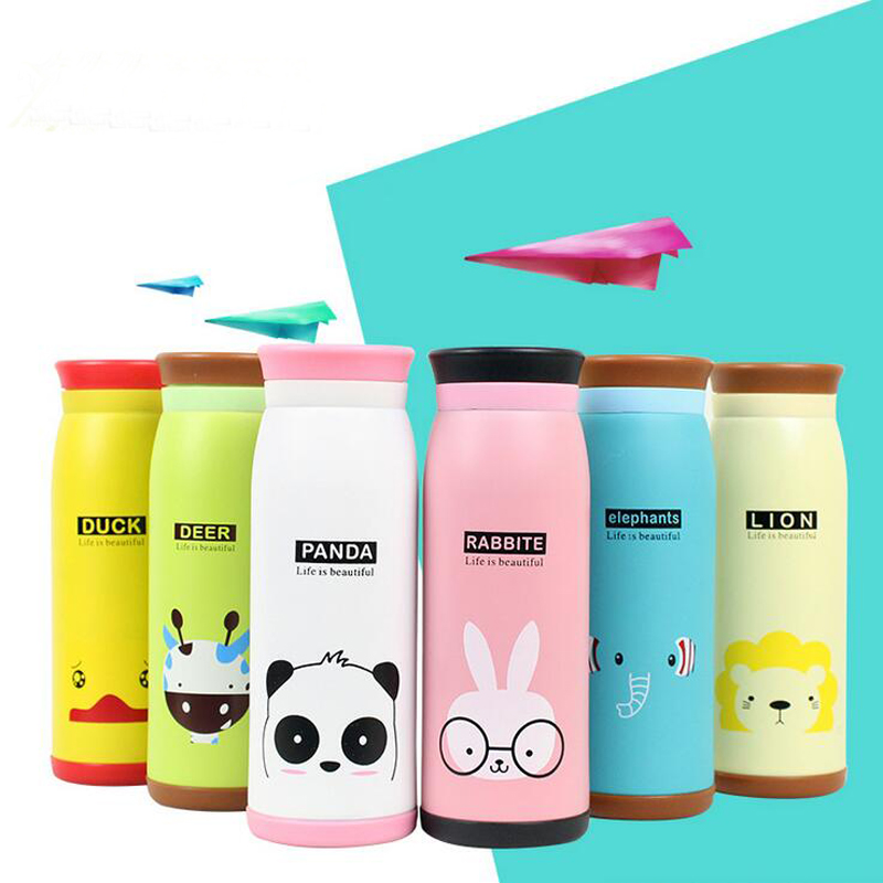 2016 Creative Cartoon Thermos mug 304 Health Stainless Steel Thermo cup Outdoor travel coffee mug thermocup Fashion Vacuum Flask(China (Mainland))