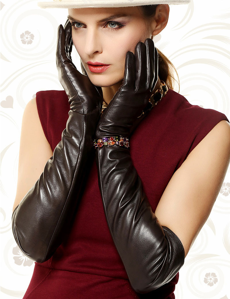 Direct Selling Women Gloves Super Long 22'' Nappa Genuine Leather Opera Dressing 100% Lambskin Glove Time-limited Free Shipping(China (Mainland))