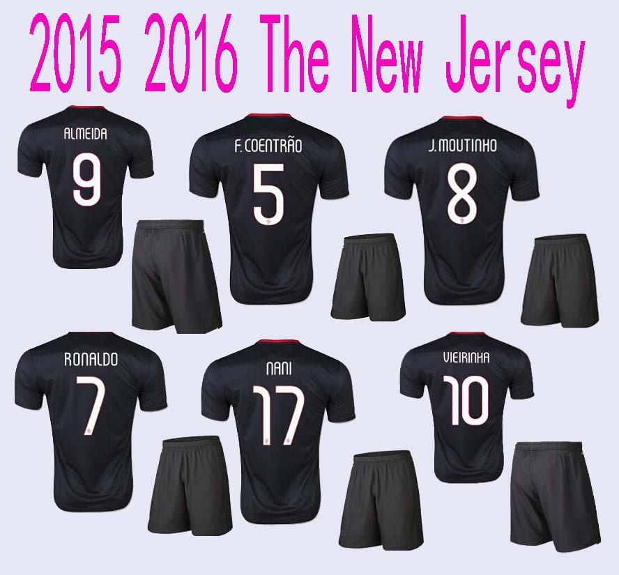 Гаджет  Complete set of jersey Portugal 2015 Camisas de Futebol 1516 RONALDO Moutinho   NANI  Black Shirt Free shipping None Спорт и развлечения
