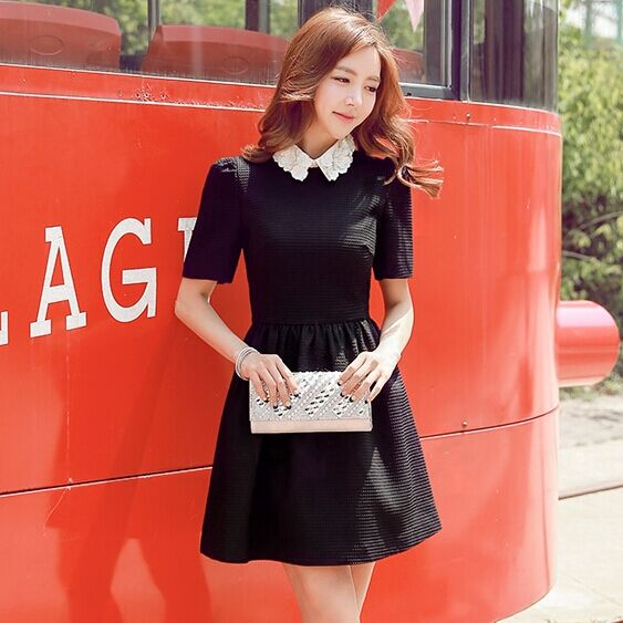 dress women authentic brand 2015 fall slim waisted fashion flowers collar black dresses plus size spring and autumn wholesale