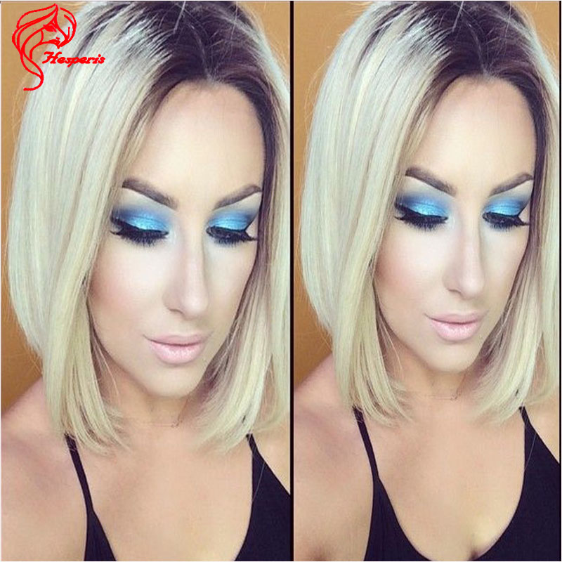 Color #613 Blonde Ombre Full Lace Wigs Short Hair Cut Bob Ombre Human Hair Lace Front Wigs Glueless Lace Wigs For Black Women(China (Mainland))