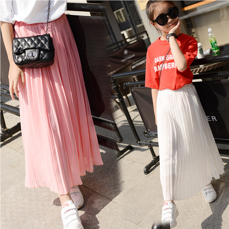 Kids Girls Pleated Chiffon Long Skirts 2016 New Summer Children Hem Skirts for Girls Bohemian ...
