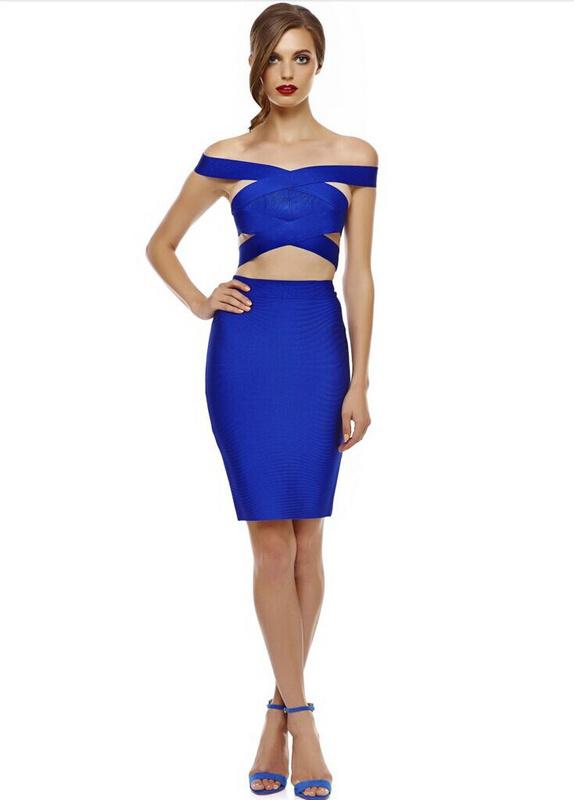 Free Shipping Hot Summer New Fashion 2 Piece Set Women 2015 Sexy Cut Out Blue Two Piece Bodycon Bandage Dress(China (Mainland))