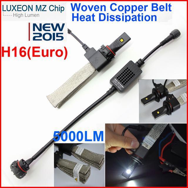 1SET H16 EURO 40W 5000LM Cree/PHILIP LED Headlight Kit Car Driving Lamp Bulbs 6000K White H1 H3 h7 H8 H11 9005 9006(China (Mainland))