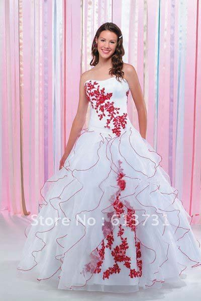 Wholesale 2012 modest christmas ruffles organza ball gown for Red and black wedding dresses for sale