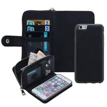 2 in 1 Multi-Function Zip Wallet Case for iPhone 5 5S 6s Magnetic Leather Case with Card Slot+Photo Frame+Strap Coque for 6 Plus(Hong Kong)