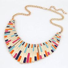 Vintage Halsband Aussage Halsketten für Frauen 2016 Bijoux Emaille geometrische collares collier Modeschmuck Maxi Halskette(China (Mainland))