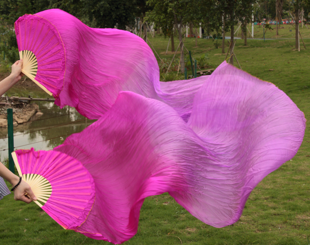 2016 female high quality Chinese silk veils dance fans Pair of belly dancing fans cheap hot sale rose red + light Purple(China (Mainland))